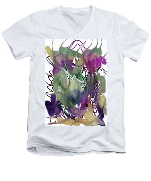 Men's V-Neck T-Shirt featuring the digital art Art Abstract by Sheila Mcdonald