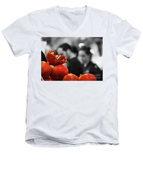 At The Market Men's V-Neck T-Shirt by Arik Baltinester