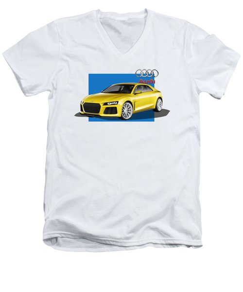 Audi Sport Quattro Concept With 3 D Badge  Men's V-Neck T-Shirt by Serge Averbukh