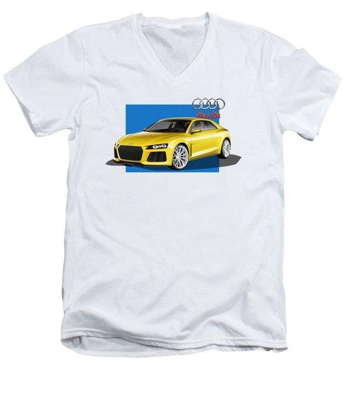 Audi Sport Quattro Concept With 3 D Badge  Men's V-Neck T-Shirt by Serge Averbukh
