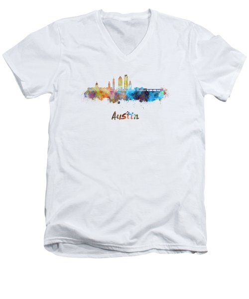 Austin Skyline In Watercolor Men's V-Neck T-Shirt by Pablo Romero