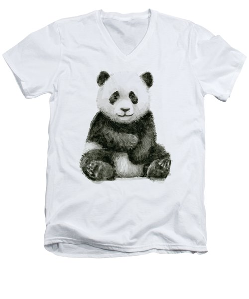 Baby Panda Watercolor Men's V-Neck T-Shirt