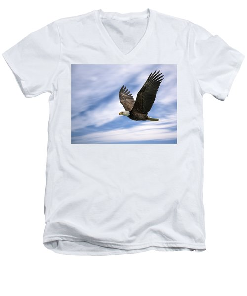 Bald Eagle - 365-12 Men's V-Neck T-Shirt by Inge Riis McDonald
