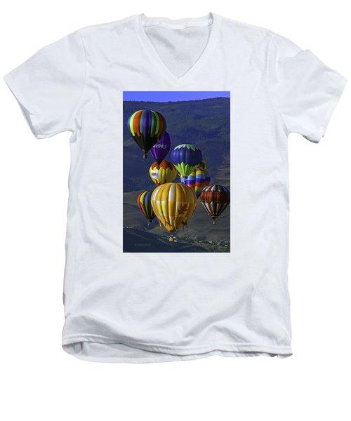 Balloons Over Reno Men's V-Neck T-Shirt by Dorothy Cunningham