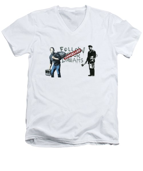 Banksy - The Tribute - Follow Your Dreams - Steve Jobs Men's V-Neck T-Shirt by Serge Averbukh
