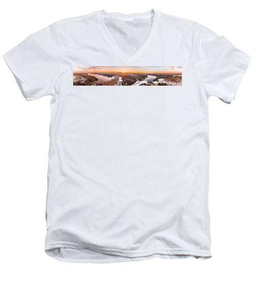 Barkhamsted Reservoir And Saville Dam In Connecticut, Sunrise Panorama Men's V-Neck T-Shirt