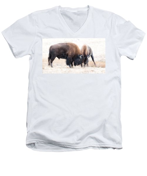 Men's V-Neck T-Shirt featuring the photograph Battle Of The Bison In Rut by Yeates Photography