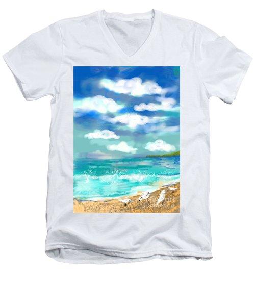 Beach Birds Men's V-Neck T-Shirt by Elaine Lanoue