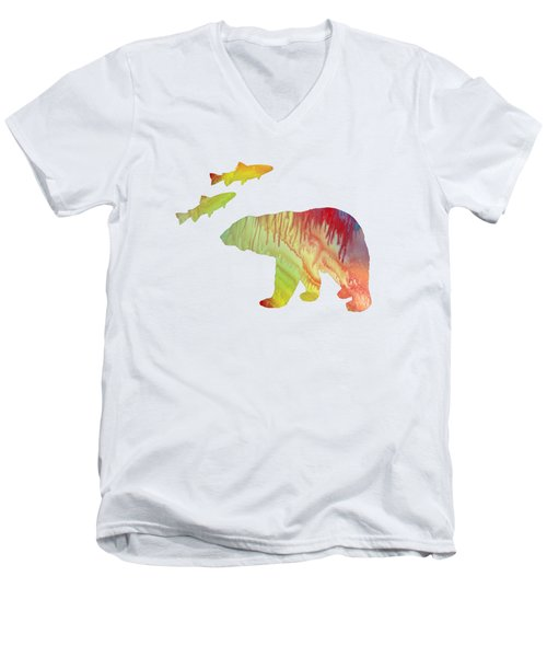 Bear And Salmon Men's V-Neck T-Shirt