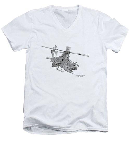 Men's V-Neck T-Shirt featuring the digital art Bell Ah-1z Viper by Arthur Eggers