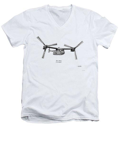 Men's V-Neck T-Shirt featuring the digital art Bell Boeing Cv-22b Osprey by Arthur Eggers