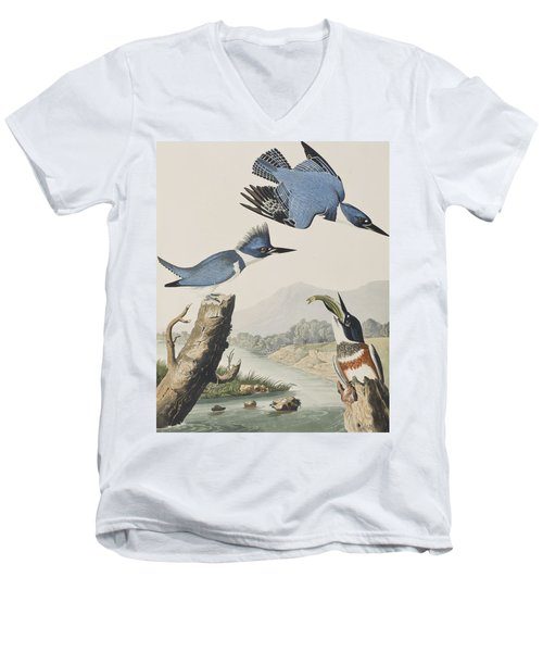 Belted Kingfisher Men's V-Neck T-Shirt by John James Audubon