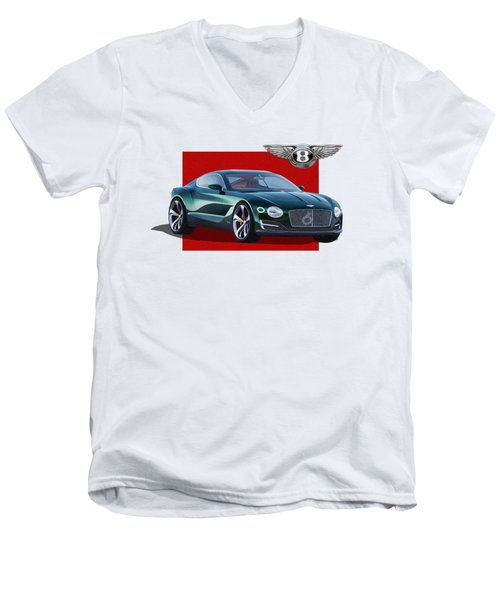 Bentley E X P  10 Speed 6 With  3 D  Badge  Men's V-Neck T-Shirt by Serge Averbukh