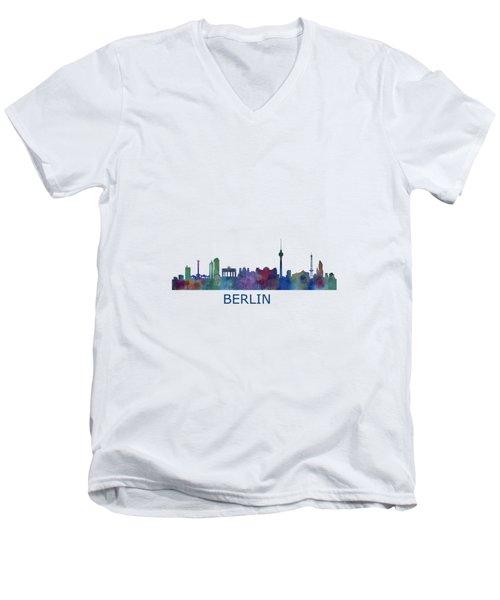 Berlin City Skyline Hq 1 Men's V-Neck T-Shirt by HQ Photo
