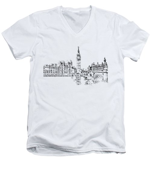 Big Ben Men's V-Neck T-Shirt by ISAW Gallery