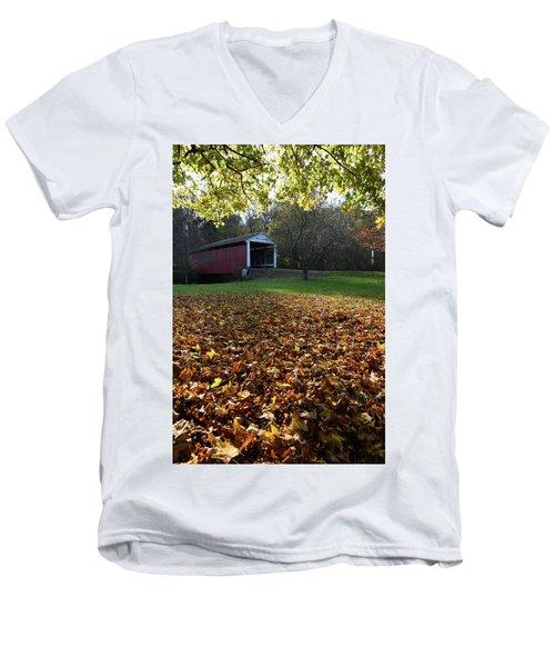 Billy Creek Bridge Men's V-Neck T-Shirt by Joanne Coyle