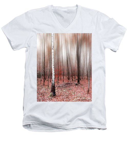 Men's V-Neck T-Shirt featuring the photograph Birchforest In Fall by Hannes Cmarits
