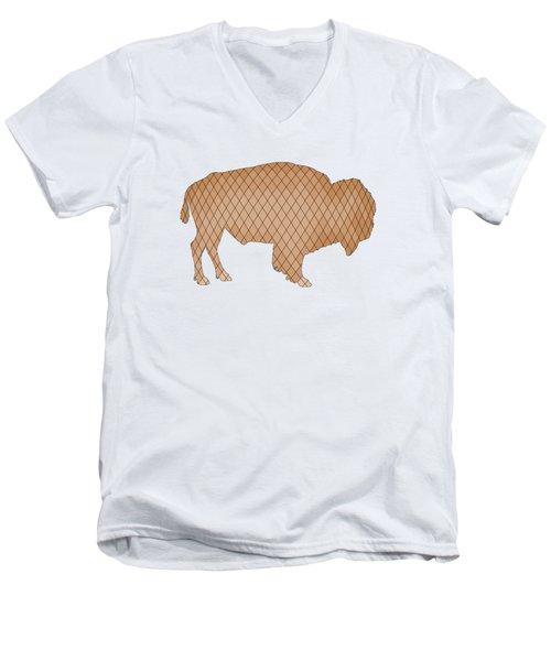 Bison Men's V-Neck T-Shirt by Mordax Furittus