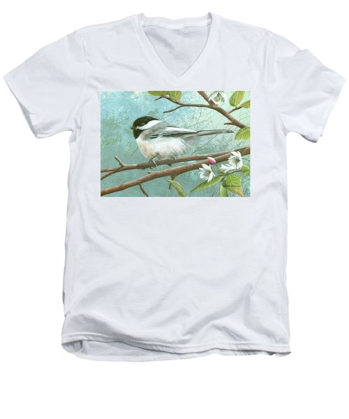 Black Cap Chickadee Men's V-Neck T-Shirt by Mike Brown