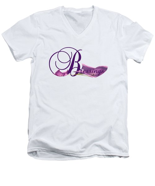 Men's V-Neck T-Shirt featuring the digital art Blessings by Ann Lauwers