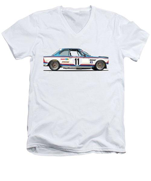 Bmw 3.0 Csl Chris Amon, Hans Stuck Men's V-Neck T-Shirt by Alain Jamar