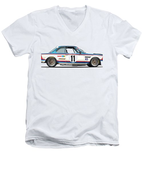 Bmw 3.0 Csl Chris Amon, Hans Stuck Men's V-Neck T-Shirt