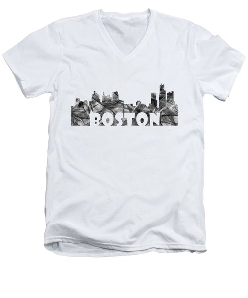 Boston Massachusetts Skyline Men's V-Neck T-Shirt by Marlene Watson