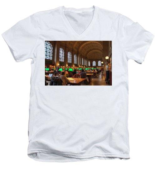 Men's V-Neck T-Shirt featuring the photograph Boston Public Library by Joann Vitali