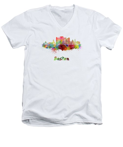 Boston Skyline In Watercolor Men's V-Neck T-Shirt by Pablo Romero