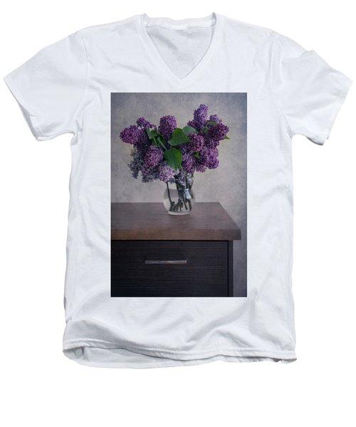 Men's V-Neck T-Shirt featuring the photograph Bouquet Of Fresh Lilacs by Jaroslaw Blaminsky