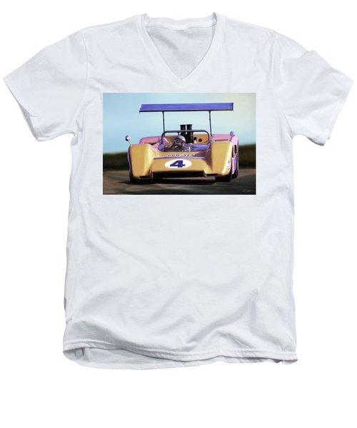 Men's V-Neck T-Shirt featuring the digital art Bruce Mclaren M8b by Peter Chilelli