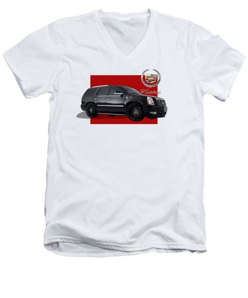 Cadillac Escalade With 3 D Badge  Men's V-Neck T-Shirt by Serge Averbukh
