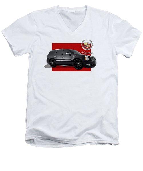 Cadillac Escalade With 3 D Badge  Men's V-Neck T-Shirt