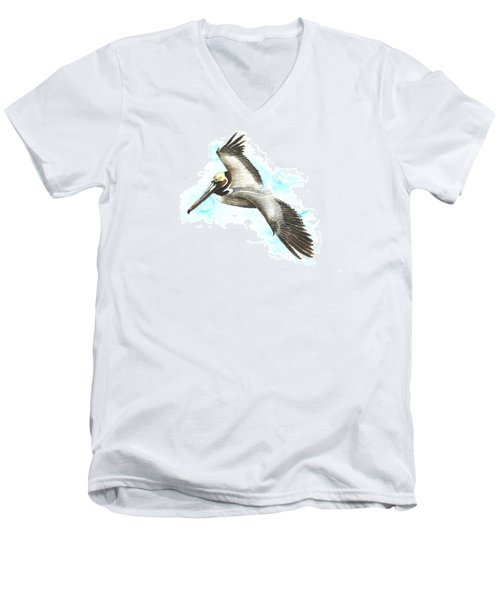 California Brown Pelican Men's V-Neck T-Shirt
