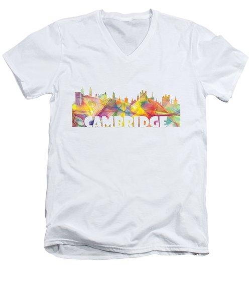 Cambridge England Skyline Men's V-Neck T-Shirt