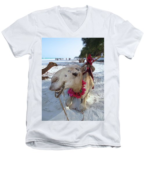 Camel On Beach Kenya Wedding3 Men's V-Neck T-Shirt by Exploramum Exploramum