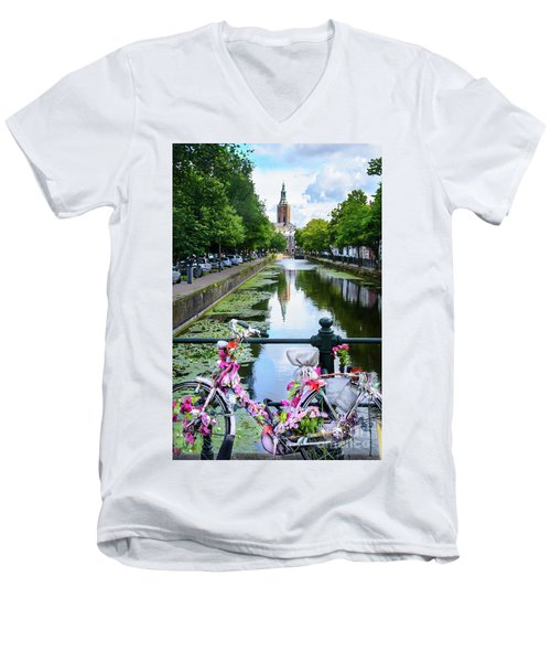 Men's V-Neck T-Shirt featuring the digital art Canal And Decorated Bike In The Hague by RicardMN Photography