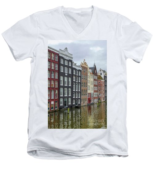 Canal Houses In Amsterdam Men's V-Neck T-Shirt by Patricia Hofmeester