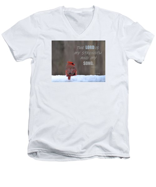 Cardinal In The Snowstorm With Scripture Men's V-Neck T-Shirt by Sandi OReilly