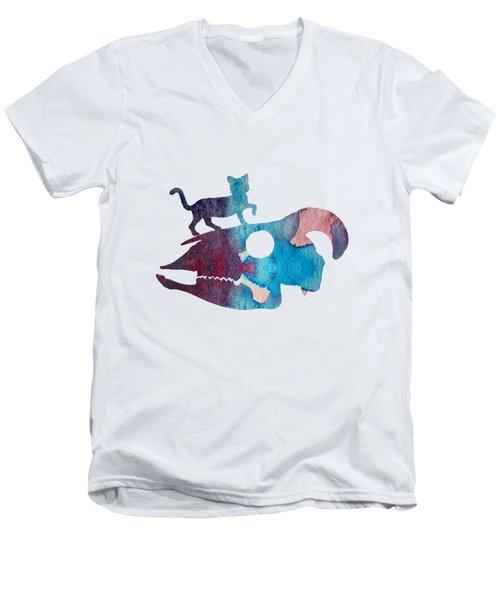 Cat On Goat Skull Men's V-Neck T-Shirt