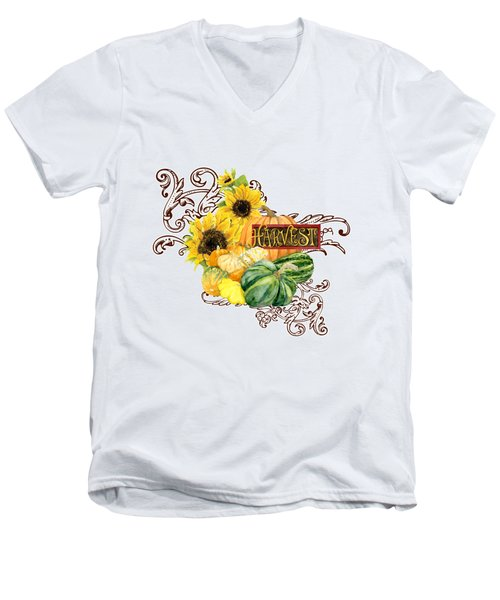 Celebrate Abundance - Harvest Fall Pumpkins Squash N Sunflowers Men's V-Neck T-Shirt by Audrey Jeanne Roberts