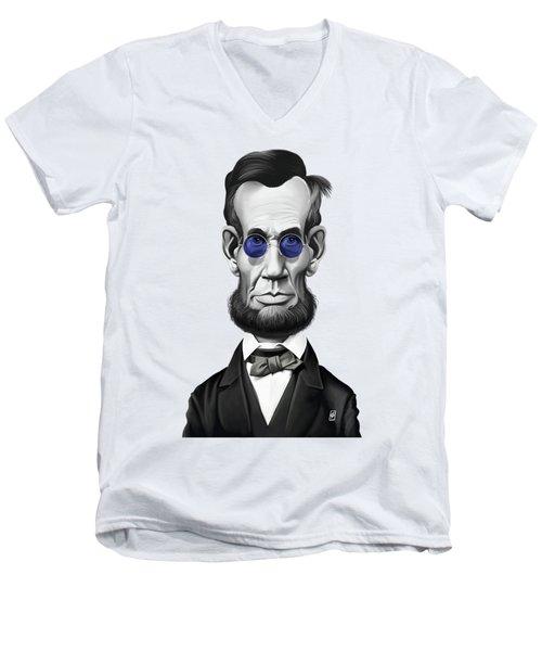 Celebrity Sunday - Abraham Lincoln Men's V-Neck T-Shirt by Rob Snow