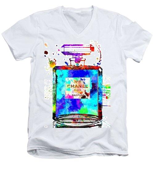 Chanel No. 5 Grunge Men's V-Neck T-Shirt by Daniel Janda