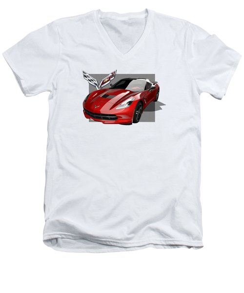 Chevrolet Corvette  C 7  Stingray With 3 D Badge  Men's V-Neck T-Shirt by Serge Averbukh