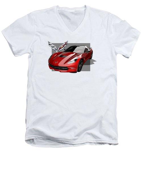 Chevrolet Corvette  C 7  Stingray With 3 D Badge  Men's V-Neck T-Shirt by Serge Averbukh