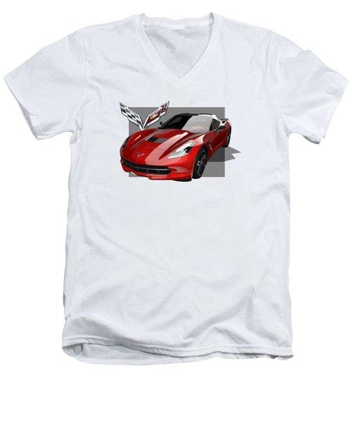 Chevrolet Corvette  C 7  Stingray With 3 D Badge  Men's V-Neck T-Shirt