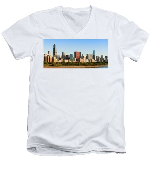 Chicago Downtown At Sunrise Men's V-Neck T-Shirt