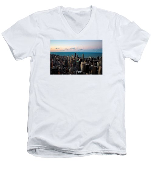 Men's V-Neck T-Shirt featuring the photograph Chicago Skyline 2 by Richard Zentner