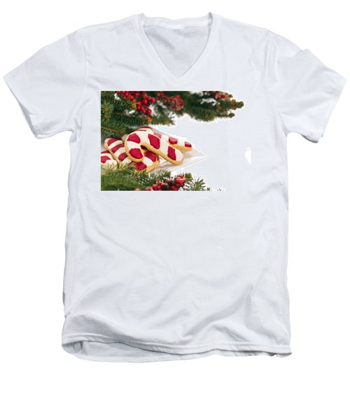 Christmas Cookies Decorated With Real Tree Branches Men's V-Neck T-Shirt by Ulrich Schade