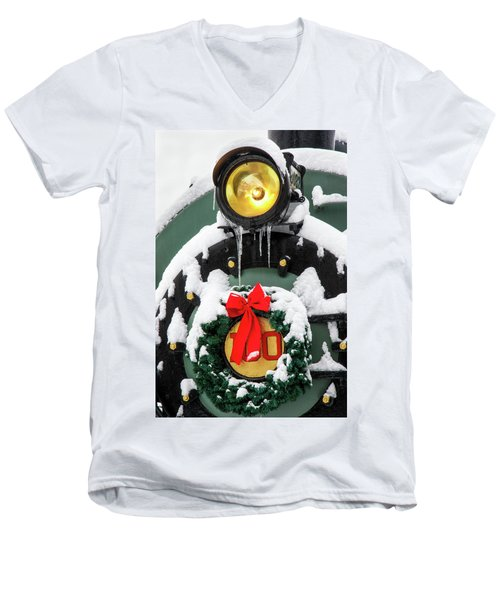 Christmas Train At Pacific Junction Men's V-Neck T-Shirt
